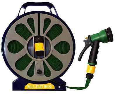 15M 50FT Garden Flat Hose Pipe Reel Spray Gun Nozzle Hosepipe