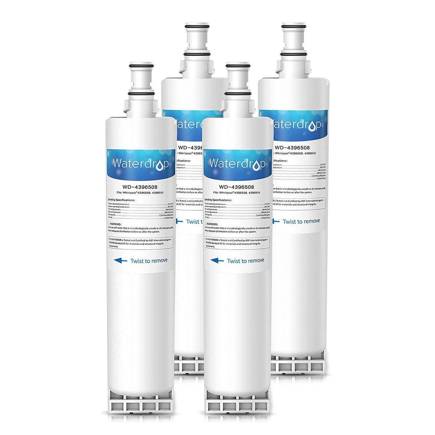 4 Waterdrop Kühlschrank Filter kompatibel mit Whirlpool SBS200, 484000008726