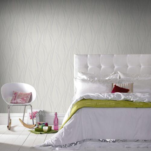 Boutique Tango Embossed Geometric White//Silver Wallpaper