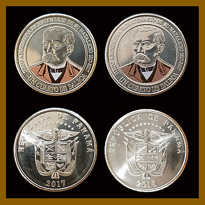 2019 Justo Arose 2pc Bicentenary Dr Panama coins new issue 1//4 Balboa 2017-18