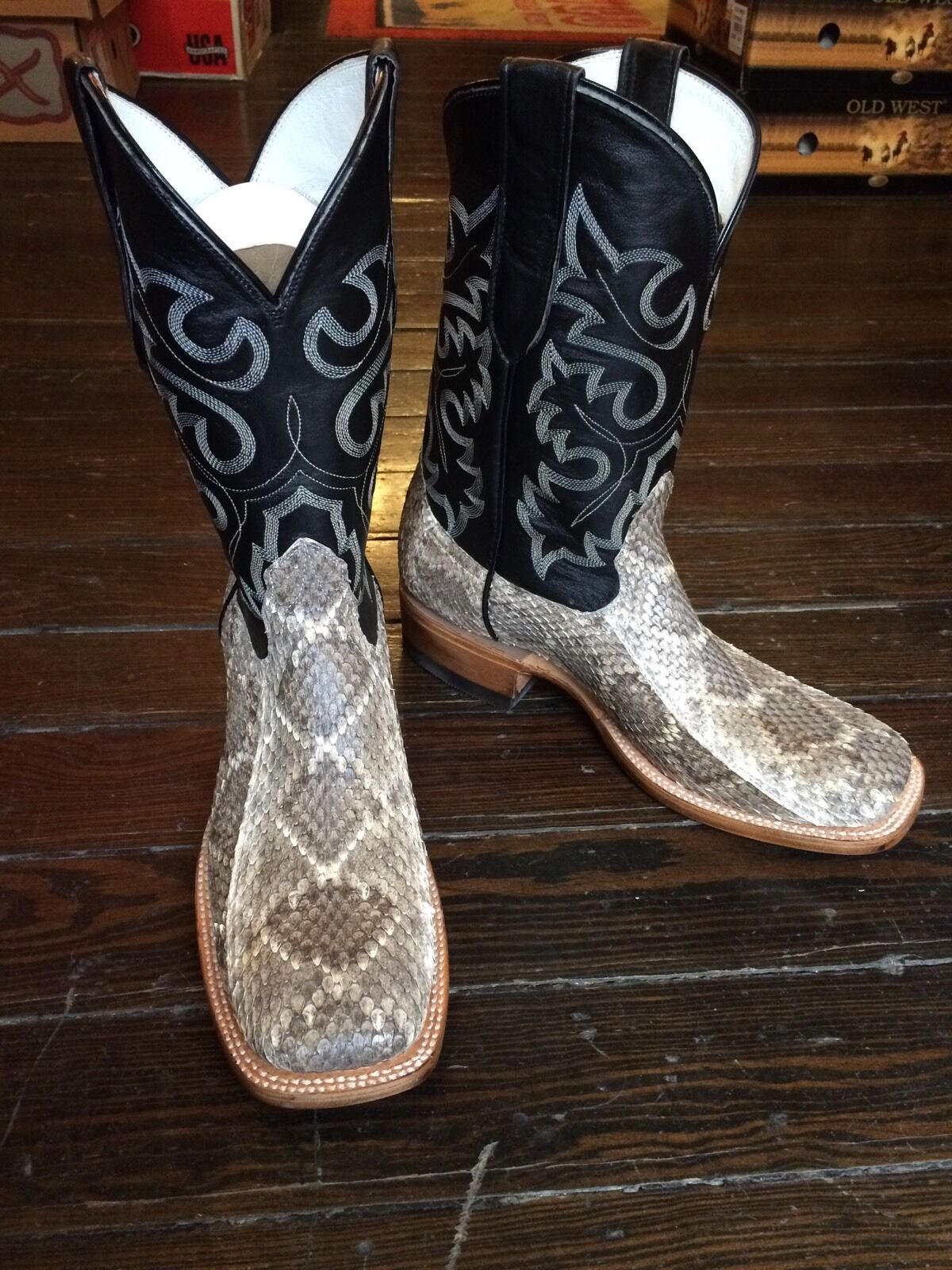 Western Diamond Back Rattlesnake Men'sBoot Square Toe