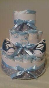 Torta di pannolini GRANDE -40pz SCARPINE BABY  colore azzurro o rosa