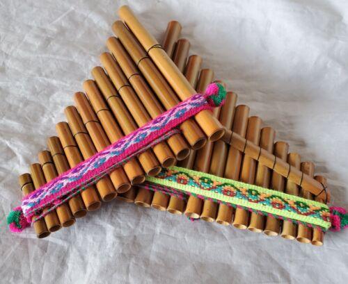 NEU! 2 x Panflöte Flöte Bambus Traditionell gefertigt Inka Peru 17 x 13 cm