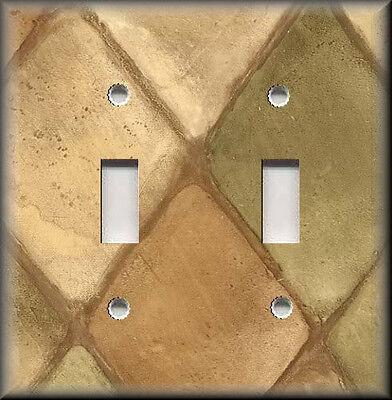 Metal Light Switch Plate Cover - Tuscan Home Decor Tuscan Tiles Design Amber Tan