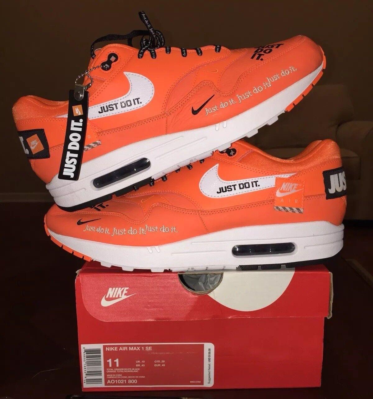 Nike Air Max 1 Gör bara det JDI Mens SE Orange Vit 11 Ny DS Black Jordan 1 2 95
