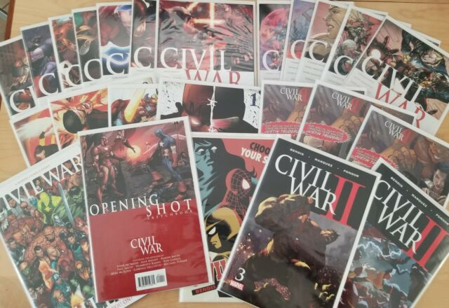 Huge Marvel Civil War Lot!! 2006 & 2015 Complete X-Men Opening Shot Variants!