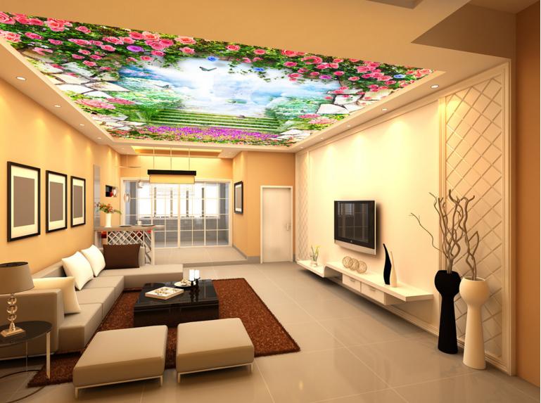 3D Rose Garden Stair 7 Ceiling Wall Paper Print Wall Indoor Wall Murals CA Lemon