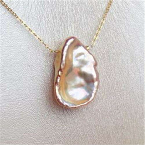 White Baroque Coin Pearl Pendant Necklace 18k accessories cultured mesmerizing