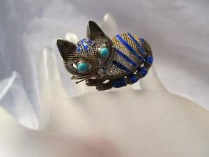 Vintage-Chinese-Cat-Blue-Enamel-Turquoise-Mesh-Gold-Sterling-Silver-Brooch-Pin