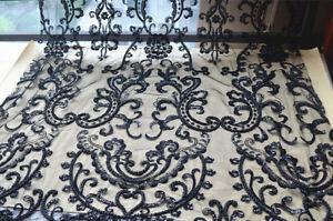Perlen-Bestickt-Hochzeit-Abendkleid-Stoff-Bluete-Brautkleid-DIY-Spitze-Stoff-1