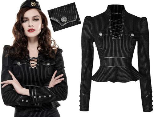 Top oberteil gothic lolita Burlesk Militär Pinup Rüschen gestreift Mode Punkrave