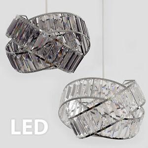 Moderne-ajustement-facile-ANNEAU-Non-electrique-Plafonnier-Abat-jour-suspendu-chrome-acrylique