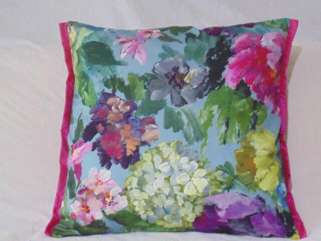 Designers Guild Tela Floral 100% Funda de Cojín de Algodón Roseto Celadón