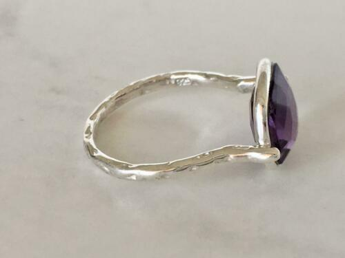 Sterling Silver Amethyst Ring Gemstone Large Square Round Size 5 6 7 8 9 10 11