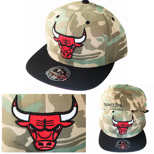 Mitchell & Ness NBA Chicago Bulls Fitted Hat Cap Green Camouflage Black Visor Cap Hat 3c32a6