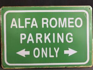 ALFA ROMEO PARKING ONLY Vintage Retro Metal GARAGE Sign MAN CAVE HOME DECOR