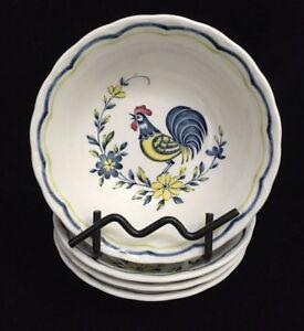 Nikko-Japan-EARLY-BIRD-Rooster-6-034-Cereal-Bowls-Set-of-4-RF-FR11