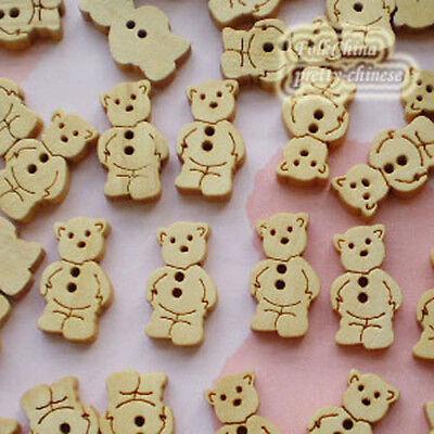 Cute bear 11mm Wood Buttons Sewing Scrapbooking Craft NCB022
