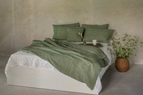 Leinen Bettwäsche 100/% Stonewashed Hotelverschluss 135x200 40x80 dunkelgrün