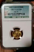 1986 1/10 oz Gold American Eagle MS-70 NGC (Registry Set)