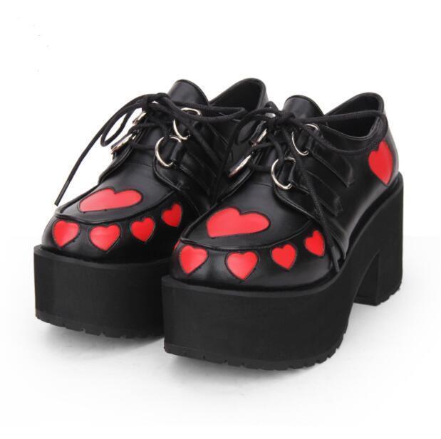 donna Creeper Platform Wedge Heels scarpe Punk Gothic Lolita Round Toe Pumps sz