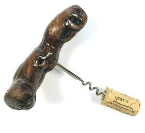 Vintage-Natural-Dark-Wood-Handle-Corkscrew-Glazed-Wine-Bottle-Opener