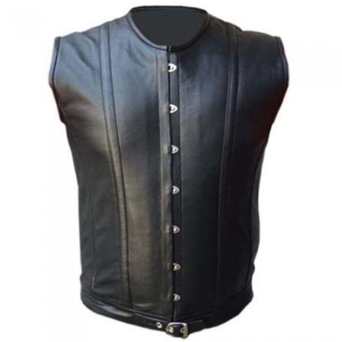 Men's Real Leather Vest Steel Boned Victorian Style Corset Gothic Steampunk Vest