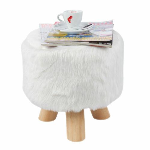 Design Tabouret fausse fourrure Tabouret Blanc Chambre D/'Amis Couloir Deco Siège Mobilier bois nature