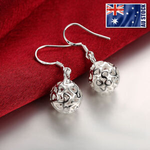 Stunning-925-Sterling-Silver-Filled-11MM-Filigree-Heart-Hollow-Ball-Earrings