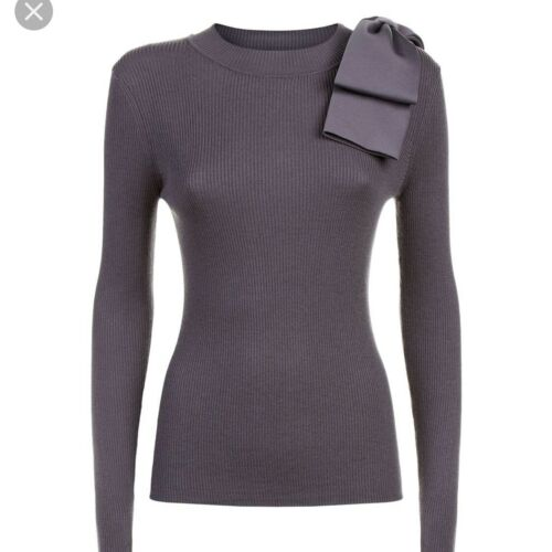 Ted Baker Grey Nehru Bow Sweater, 2
