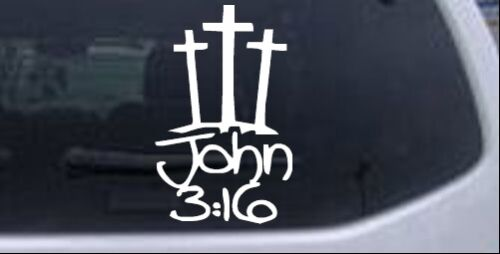 3 Crosses With John 3:16 Car or Truck Window Laptop Decal Sticker White 3X4.8
