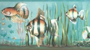 Wallpaper-Border-Under-The-Sea-Tropical-Fish-Blue-Green-Orange-Black