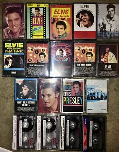 LOT-OF-20-ELVIS-CASSETTE-TAPES-BLUE-HAWAII-PURE-GOLD-4-ARE-RECORDED-MUST-SEE