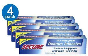DENTURE ADHESIVE CREAM 1.4 Oz Secure Strong Bonding Waterproof PACK OF 4