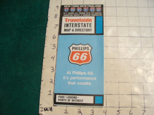 vintage HIGH GRADE travel brochure TRAVELAIDE INTERSTATE MAP DIR. phillips 66