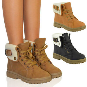 Ladies-Ankle-Boots-Shoes-Womens-Flat-Winter-Snow-Grip-Sole-Walking-Biker-Size