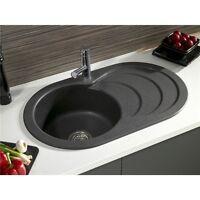 Astracast Cascade 1.0 Bowl Granite Kitchen Sink Rok Metallic In Volcano Black