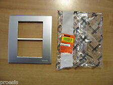 BTICINO N4816AA Placca Light 2 moduli alluminio naturale