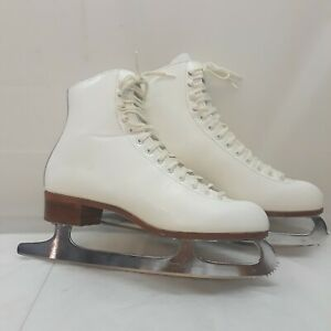 Riedell-220-Red-Wing-Figure-Skating-Ice-Skates-White-Womens-8-5-Sheffield-Blades