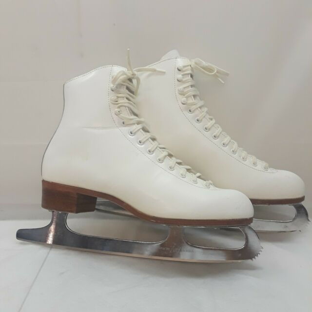 Riedell 220 Red Wing Figure Skating Ice Skates White Womens 8.5 Sheffield Blades