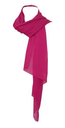 New Classic Silky Feel See Through Chiffon Scarf Wedding Shawl Hot Pink