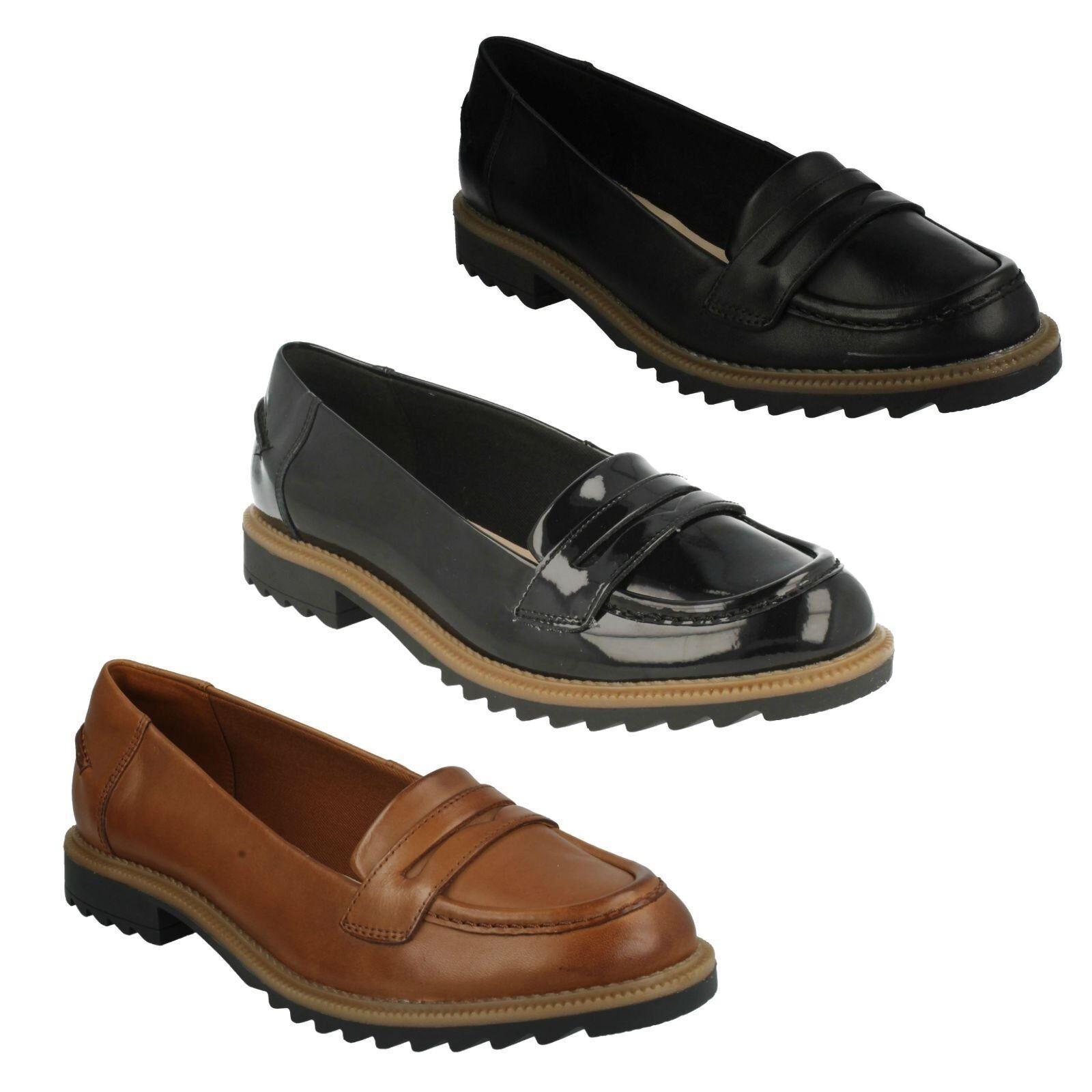 greifen Damen Clarks Leder Slipper niedrige Absätze förmliche Schuhe Größe