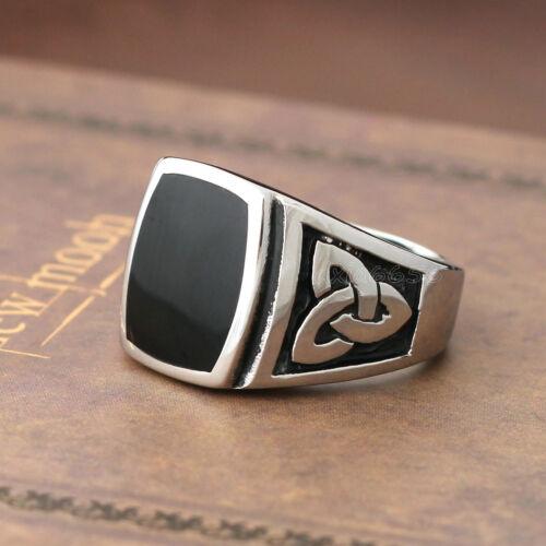 Men/'s Silver Noir Élégant Émail Celtic Knot 316 L Bague Acier Inoxydable