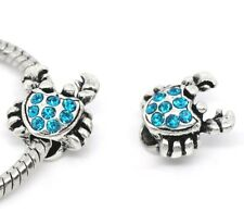 Blue Rhinestone Crab Beach December Birthstone Bead for European Charm Bracelets
