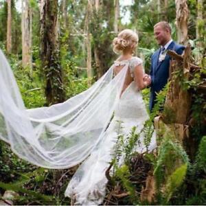 a5b79df359 Bridal Cape Lace Edge Wedding Cloak Veil White Ivory Long Tulle ...