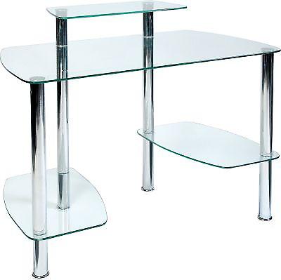 Glacier Modern Stylish Chrome Frame Glass Home//Small Office Work Station Desk