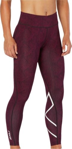 2XU Mid-Rise Print Womens Long Compression Tights Pink