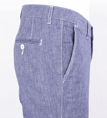 Spigato Denim E Bianche Celeste Impunture Cotone Pantalone In Con Markup Lino nwxEBqvtH