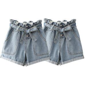 Women-Summer-Pants-High-Waist-Shorts-Denim-Jeans-Belt-Beach-Short-Pants-Trousers