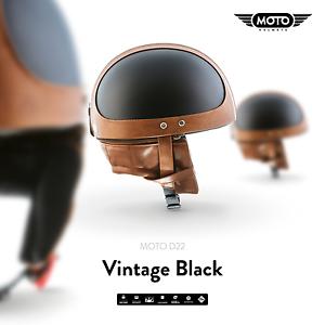 moto d22 braincap leder halbschalen helm jet helm motorrad. Black Bedroom Furniture Sets. Home Design Ideas